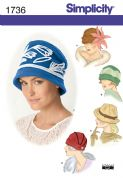 1736 Simplicity Pattern: Misses' Hats in Three Sizes